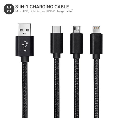 Olixar 3-in-1 USB-C, Lightning & Micro USB Braided Tough Cable