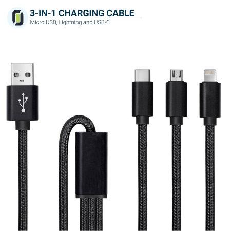 Olixar 3-in-1 USB-C, Beleuchtung & Micro USB robustes Kabel