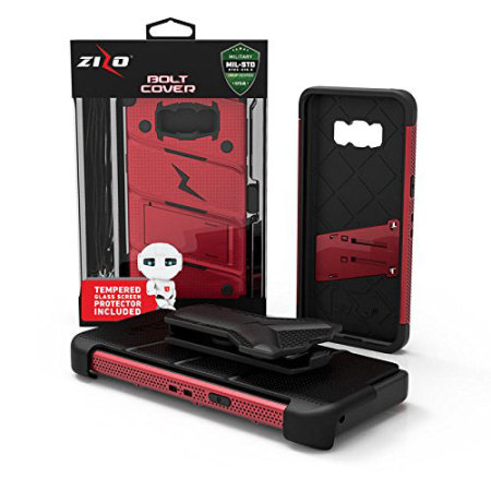 your zizo bolt series samsung galaxy s8 tough case belt clip red with selected Samsung