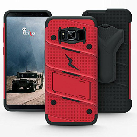 come with zizo bolt series samsung galaxy s8 plus tough case belt clip red half the