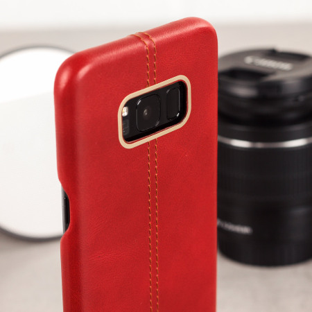 Olixar Premium Genuine Leather Samsung Galaxy S8 Case - Red