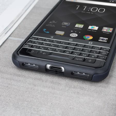 coque officielle blackberry keyone double couches noire. Black Bedroom Furniture Sets. Home Design Ideas