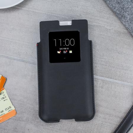 Official BlackBerry Smart Pocket KEYone Genuine Leather Case - Black
