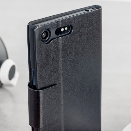 Olixar Leather-Style Sony Xperia XZ Premium Wallet Stand Case - Black