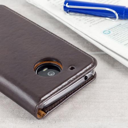 Olixar Leather Motorola Moto G5 Plus Executive Wallet Case - Brown