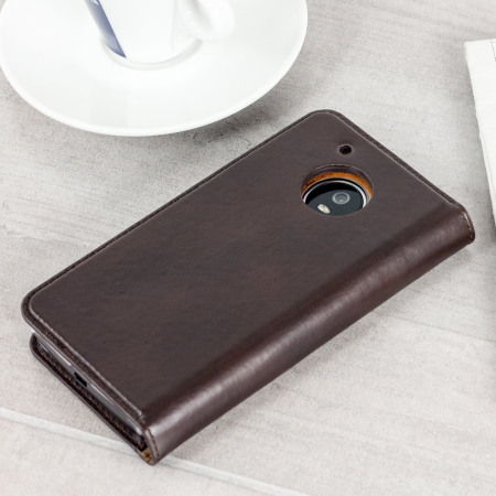 Olixar Leather Motorola Moto G5 Plus Executive Wallet Case - Brown