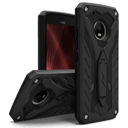 Zizo Static Motorola Moto G5 Plus Tough Case & Kickstand - Black