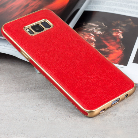 Olixar Makamae Leather-Style Samsung Galaxy S8 Case - Red