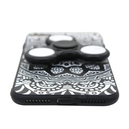 olixar iphone 8 / 7 plus case with fidget spinner - black / white