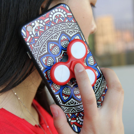 olixar iphone 8 / 7 fidget spinner pattern case - red / blue