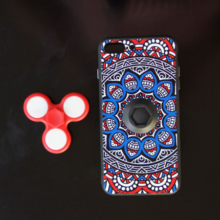 olixar iphone 8 / 7 plus fidget spinner pattern case - red / blue