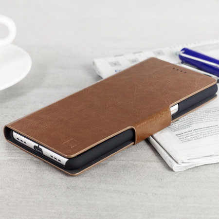 Olixar Leather-Style Blackberry KeyONE Plånboksfodral - Brun