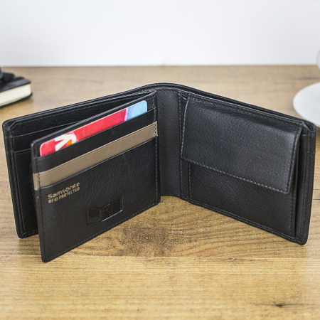Samsonite S-Pecial Genuine Leather RFID Blocking Wallet - Black
