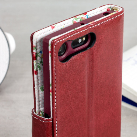 Olixar Leather-Style Sony Xperia XZ Premium Wallet Case - Floral Red
