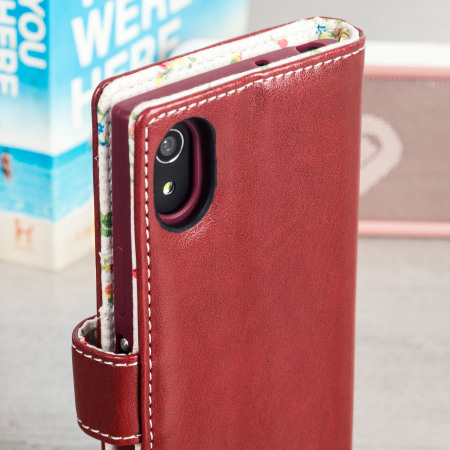 Olixar Leather-Style Sony Xperia XA1 Wallet Case - Floral Red