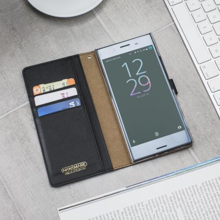 Hansmare Calf Sony XZ Premium Wallet Case - Navy