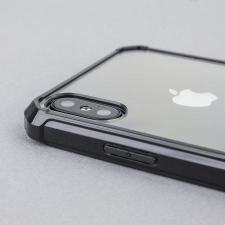 olixar exoshield tough snap on iphone x case   black clear
