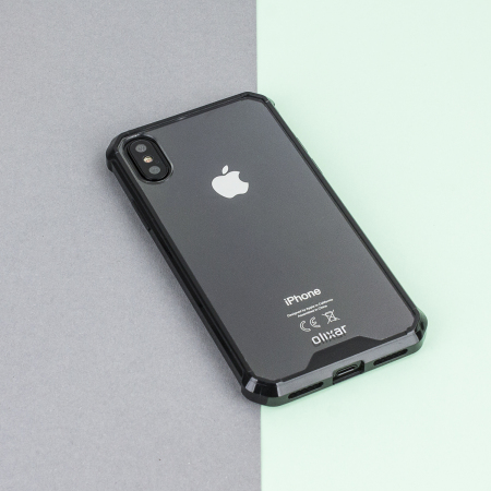 olixar exoshield tough snap-on iphone x case - black / clear