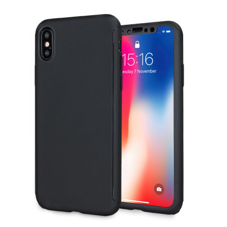 Olixar X-Trio Full Cover iPhone X Case - Zwart