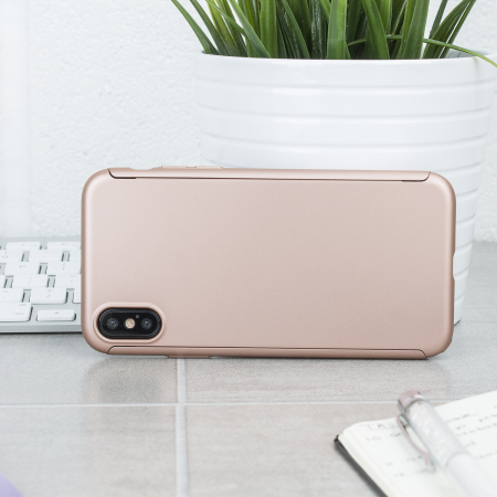 olixar xtrio full cover iphone x case & screen protector - rose gold