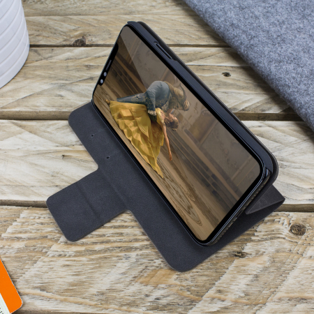Olixar Leather-Style iPhone X Wallet Stand Case - Black