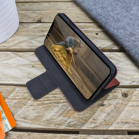 Olixar Leather-Style iPhone X Wallet Stand Case - Brown