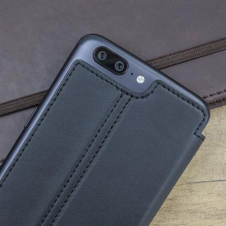 Olixar Slim Genuine Leather Flip OnePlus 5 Wallet Case - Black