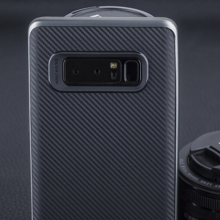 Olixar X-Duo Samsung Galaxy Note 8 Case - Koolstofvezel en Metallic Grijs