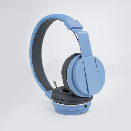 Bitmore Classic On-Ear Folding Headphones with Mic and Remote - Blue