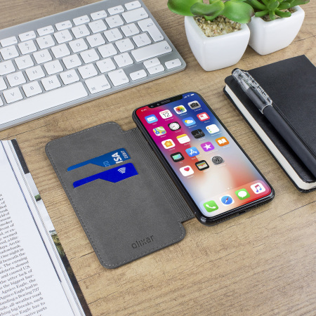 Housse iphone x olixar slim portefeuille cuir v ritable for Housse iphone x