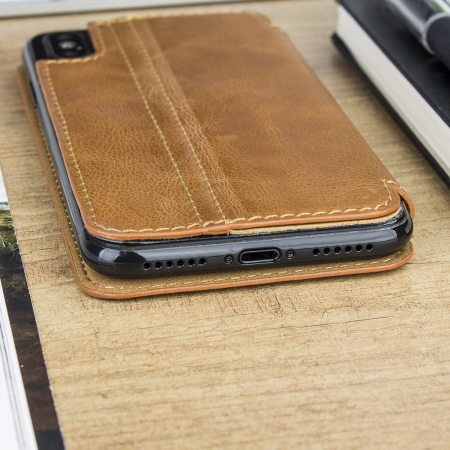 sports shoes 37bd2 60baf Olixar Slim Genuine Leather Flip iPhone X Wallet Case - Tan