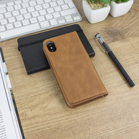 olixar genuine leather iphone x executive wallet case - tan