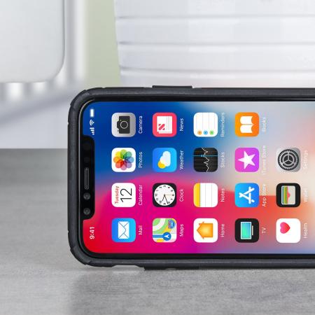 olixar magnus iphone x case and magnetic holders - black