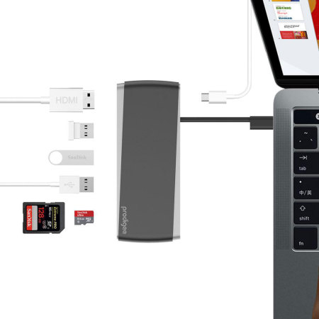 Prodigee USB-C Adapter & Hub with USB Charging Ports - Grey