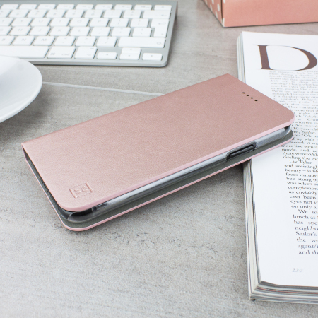 olixar leather-style iphone x wallet stand case - rose gold