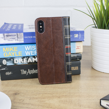 olixar xtome leather-style iphone x book case - brown