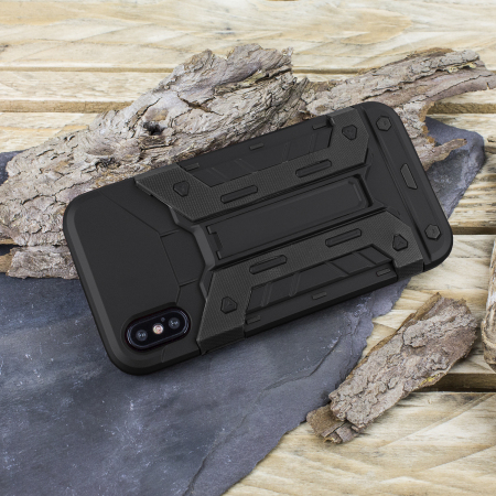 olixar xtrex iphone x rugged card kickstand case - black