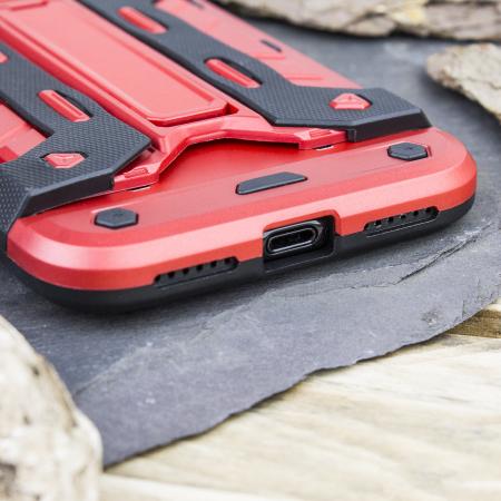 Olixar XTrex iPhone XS / X Rugged Card Kickstand Case - Red