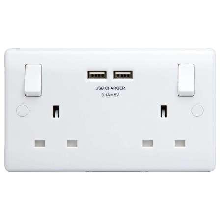 2 port usb double uk plug socket with phone shelf. Black Bedroom Furniture Sets. Home Design Ideas