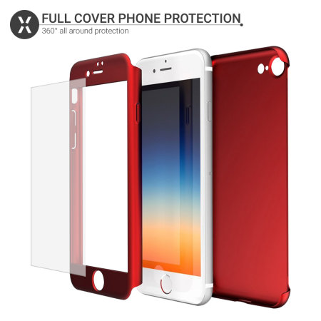 olixar xtrio full cover iphone 8 case & screen protector - red