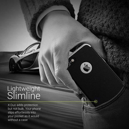 olixar xduo iphone 8 case - carbon fibre silver