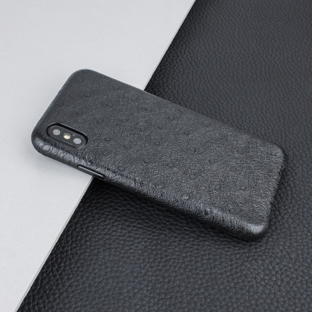 olixar ostrich premium genuine leather iphone x case - black