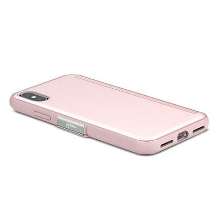 moshi stealthcover iphone x clear view folio case - champagne pink