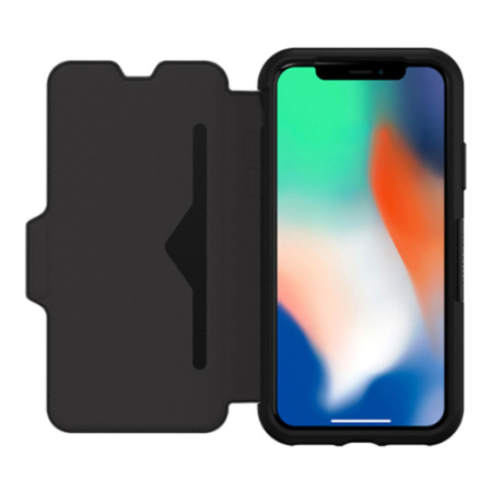 otterbox strada folio iphone x leather wallet case - black