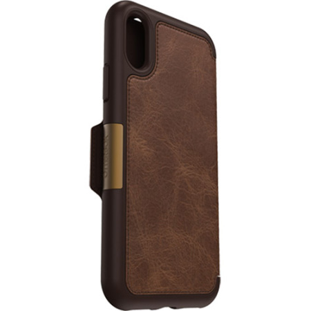 otterbox strada folio iphone x leather wallet case - brown