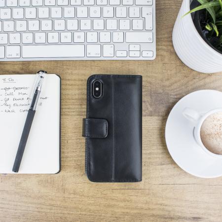 Olixar Genuine Leather iPhone X Plånboksfodral - Svart