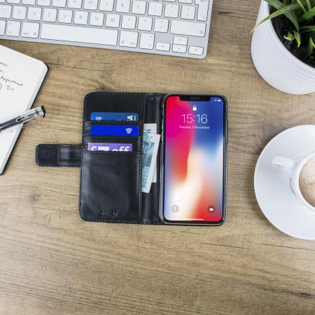Olixar Genuine Leather iPhone X Wallet Case - Black