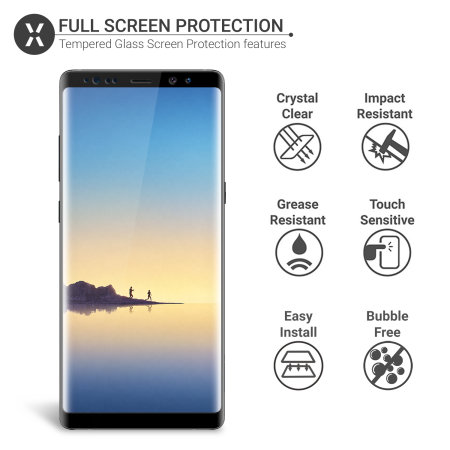 Olixar Galaxy Note 8 Full Cover Glass Screen Protector 2-in-1 Pack