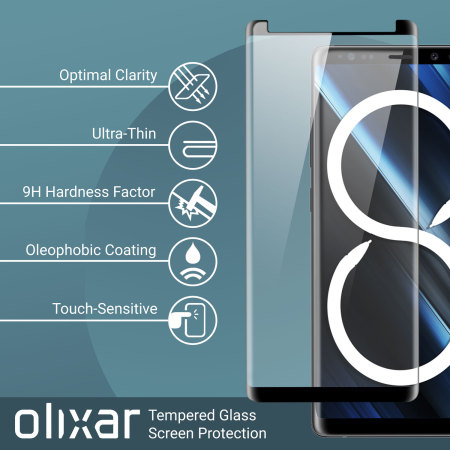 Olixar Galaxy Note 8 Case Friendly Glass Screen Protector 2-in-1 Pack