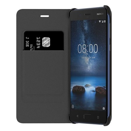 Flip Wallet Officielle Nokia 8 Cuir - Bleue